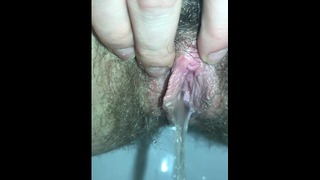 Hairy Pussy Taking The Long Piss