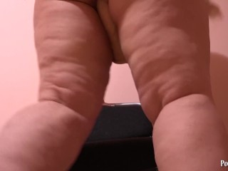 Little Plump Woman Jumping At A Huge Rubber Cock Butt Shaking